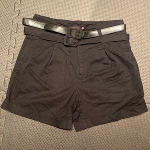 "Forever 21 high waisted belted shorts black 5"""